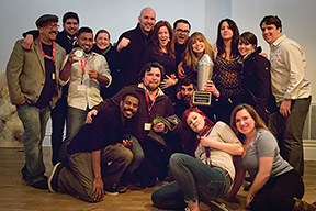 The United States Bartenders Guild RI members celebrate a win. Photo by Chris Almeida.