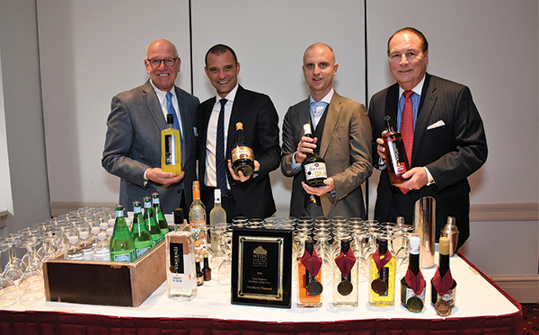 Blaise Tremazzo, Spirits Director of Hartley & Parker Ltd., Inc.; Luca Vincenzi, International Marketing Director and Andrea Vincenzi, President, both of Vincenzi Distillery, Turin, Italy; Mike FitzPatrick, President of NCCGA of CT, sole U.S. importer of Vincenzi Distillery.