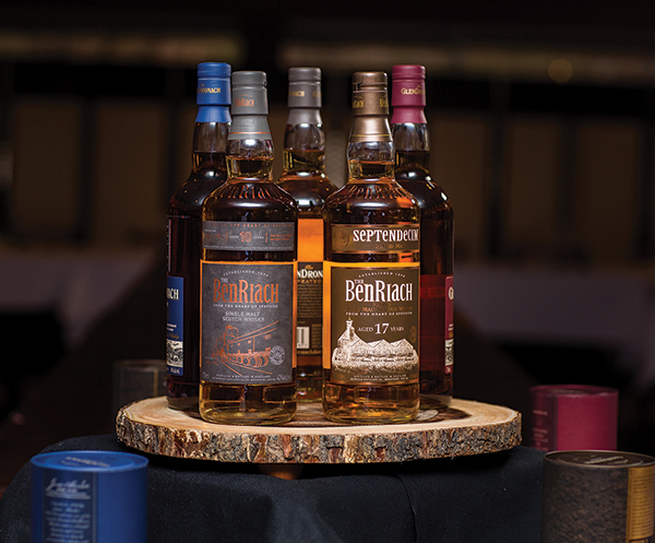 BenRiach brands on display. BenRiach Distillery has been producing premium quality single malt Scotch whisky since 1898.