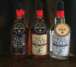 """The 3-year aged expression in the """"Premium White Rum"""" category and the 12-year in the """"Aged 9-12 Years"""" category each earned gold medals during the Rum XP International Tasting Competition held during Miami's Rum Renaissance,  April 25 - 27, 2014.  Bottles adorned with WSWA medals."""