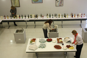 Worldwide Wines staff set up for the event.