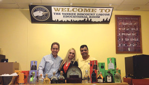 John Markle, Sales, Connecticut Distributors, Inc.; Amanda Pekar, Patrón Portfolio Manager, Connecticut Distributors, Inc.; Deepak Pattani, Owner, Yankee Discount Liquor.
