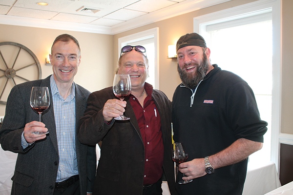Paul Cullen, CT Sales Manager, Angelini Wine; Gino Pisani, Sales, Angelini Wine; and Mike Fino, Owner, Twisted Vine in Fairfield.