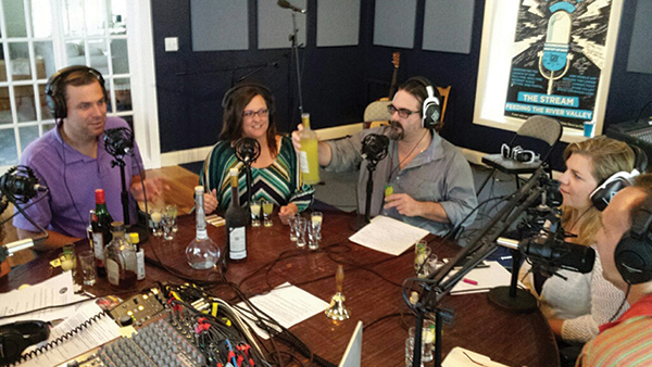 Radio Host Mark Griswold; Stacy Winchell, Palate Panel and Host; Radio Host Stephen Gencarella; Sarah Wadle, Marketing, Angelini Wines; Julius Angelini, Owner, Angelini Wines.