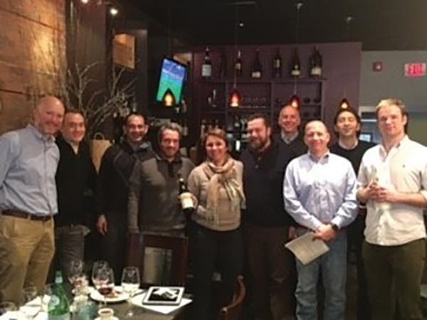 Greg Wood of Ridgefield's 109 Cheese and Wine Shop; David Fletcher, L'Escale; John Freitas, L'Escale; Jeb Fiorita, Val's Putnam Wine and Spirits; Elena Currado of Vietti Wines; Aaron Sagendorf, Arethusa Al Tavola; Tim Smith, Wineport of Darien; Mitch Ancona of Ancona's; Giuseppe Cornacci, Applausi; Codey Foster, Ancona's. Not shown: Rob Petz, Old Greenwich Fine Wine.