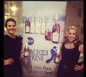 Denise Parent, Barefoot Wine Area Manager NY & CT, with Donna Taylor, pouring Barefoot for Geometry Global.