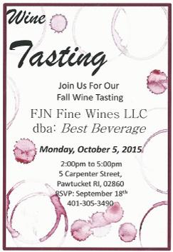 October 5, 2015: Trade Only/Best Beverage Fall Wine Tasting
