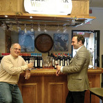 Baracchi shares a taste during an event at Black Bear Wines and Spirits in Westport.