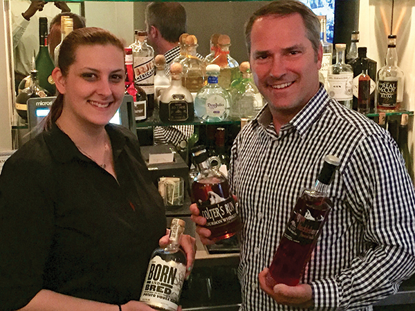 Rachelle Madgic of Bistro B at the Westport Inn with Tim Harland, VP Sales and Marketing, Grand Teton Distillery. Grand Teton Distillery is located on the western slope of the Teton mountain range in Driggs, Idaho.