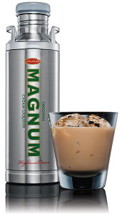 """Magnum Cream Liqueur is a """"uniquely indulgent drinking experience,"""" created from a blend of the finest vatted Highland Scotch Whisky and real Dutch cream. The cream liqueur offers hints of caramel, chocolate and rich toffee and is distinctively packaged in a reusable stainless steel flask with screw top  and handles."""