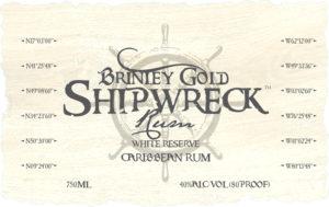 Brinley Shipwreck White Reserve Rum bottle label