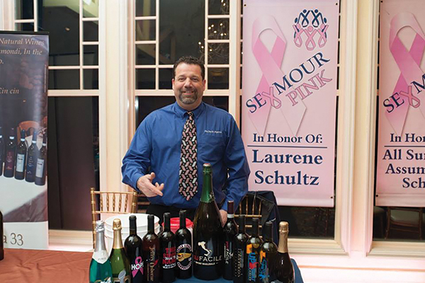 Bruno Ceniccola, Owner, Piu Facile Imports, pouring from his Italian portfolio selection during the Seymour Pink Wine Tasting.
