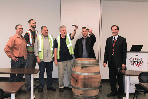 Jon Pinto, Driver Check-In Manager, CDI; Matt Rahrig, Night Warehouse Supervisor, CDI; Eddie Vaquero, Night Warehouse Supervisor, CDI; Jack Connell, Night Warehouse Manager, CDI; Joe Luciana, Director of Operations, CDI; and John Hild, East Region Vice President of Operations, Breakthru Beverage.