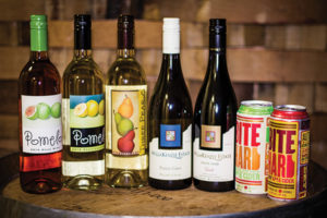 """Pomelo Rosé, Pomelo Sauvignon Blanc, Willakenzie Estate Pinot Gris, WillaKenzie Estate """"Gisèle"""" Pinot Noir and Bite Hard Cider in semi-sweet and dry styles."""