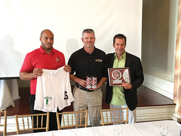 James Perkins, General Manager, CT United FC; Rich Visco, CEO, Shebeen Brewing Company; Greg Bajek, Owner, CT United FC, during an August press conference and product release in Berlin, Connecticut.