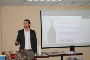 Brenton Blanchard, Business Director, ABCK Corp., presenting Chapel Down wines to Slocum & Sons on April 14. Three Graces is a blend of 60% Chardonnay, 33% Pinot Noir and 7% Meunier, sourced from vineyards in Kent, Essex and Sussex on chalk and clay soils. The Rosé Brut is made from 100% Pinot Noir grapes and sourced from Kit's Coty Vineyard near Aylesford in Kent. Reserve Brut is made of 44% Chardonnay, 38% Pinot Noir, 11% Pinot Blanc and 7% Pinot Meunier from vineyards in Kent, Essex, Sussex and Dorset.