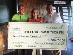 Angelo Collins, President, Horizon Beverage Co. of RI; Lisa Roth Blackman, Chief Philanthropy Officer, RI Community Food Bank; and Jim DiMarino, Director of Golf, Carnegie Abbey Golf Club.