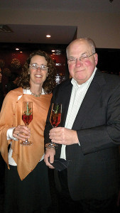 Kate Cassidy, Northeast Regional Manager, Dalla Terra Wines Direct; Marvin Friedman, Owner, Maple End Package Store in Bristol.