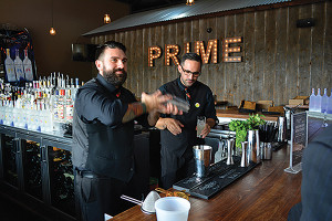 USBG CT's Dimitrios Zahariadis, Chapter President and Carl Summa, Vice President. The duo also works together as The Cocktail Chemists, shown here in a September 2014 event at Prime One Eleven in Trumbull.
