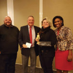 Steve Zgradden, 2015 Portfolio Representative of the Year, Eder Bros; Kachmarck; Maria Vaspasiano, Eder Bros. and recipient of Brown-Forman Portfolio Representative of the Year Golden Jack Award; and Hill.