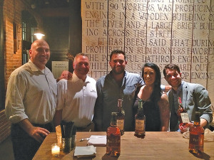 Jeff Conelius, Craft Spirit Specialists, Allan S. Goodman; Tom Kachmarck, CT State Manager, Brown-Forman; Nick Georgetti, Engine Room; Nikki Simches, First Place Winner; Erick Karadimas, Abigail's.