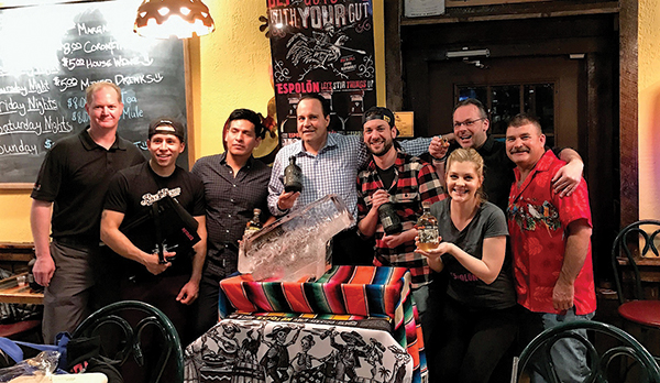 Gary Dritschler, State Manager CT and RI, Campari America; Jasson Arias, Second Place Runner Up; Angel Pena-Fernadez, Competitor; Andy Adames, Owner, Senor Pancho's; Ryan Anderson, First Place Winner; Kim Gunderson, Third Place; Anthony DeSerio, Event Judge; Dwayne Manville, Competitor.