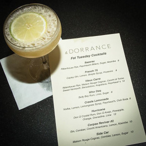 The featured Fat Tuesday cocktail list.