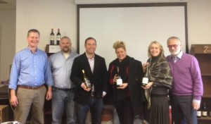 Mike Kerle, Account Representative, NEWS; Rob Hone, Account Representative, NEWS; Nathan Kandler, Lead Winemaker at Thomas Fogarty Winery; Andrea DelVecchio, Account Representative, NEWS; Yelena Shullman, Account Representative, NEWS; Robert Colopy, Sales Manager, NEWS.