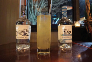 Edinburgh Cannonball Navy Strength Gin and Edinburgh Seaside and a cocktail creation.