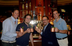 "Ben Jones, Regional Director Rhum Clement; Jonathan Pogash, ""The Cocktail Guru,"" renowned cocktail consultant; Frank Martucci, General Manager Beverage Operations, Twin River Casino; and Brent Ryan, Managing Director, Thomas Tew share a toast of Wink at the ""keg barrel craft"" cocktail's launch party at Twin River Casino."