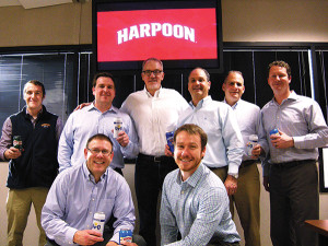 First row:  Dennis Fitzgibbons, Vice President of Sales, Harpoon; Andrew Lieffers, Brewery Representative, Harpoon. Second row: Will Clune, Brewery Representative, Harpoon; Ryan Broz, General Manager, Wayne Div., HBC; Dan Kenary, CEO and Co-Founder, Harpoon; Gregg Quadrini, President Beer CBU, HBC; Tom Brayer, Executive Vice President of Sales, Harpoon; and Mike Fraioli, Regional Sales Manager, Harpoon.