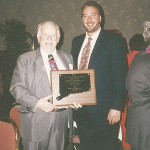 "Julius Rosenberg, shown with son Jerry Rosenberg, was honored with ""Industry Person of the Year"" in 1994 from the Connecticut Package Store Association (CPSA)."