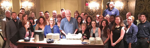Kevin Wise (center, holding cake) is the night auditor at Hotel Viking and celebrated more than 20 years at the hotel. Linda Shoe, (next to Wise on the right) has been with Hotel Viking for more than 35 years working in housekeeping. The group celebration took place on May 22, 2016.