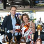 Alex Diard, Wine Ambassador, Chateau D'Esclans holding Rock Angel of Provence and Patricia Allen Lornell, Brand Ambassador, Off the Vine, holding Whispering Angel of Provence.