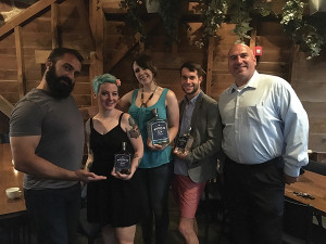 Aaron Stepka, Millwrights, surrounded by the winners: Jaime Oakes in second place, Kristen Mixter in first and Erick Karadima in third place, next to Jeff Conelius, Craft Spirit Specialist, Allan S. Goodman.