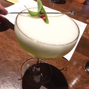 """Kristen Mixter's first place cocktail """"Mind Your Peas & Q's"""" featuring Boodles British Gin. The gin is distilled from British wheat and then infused with a number of traditional herbs and spices including nutmeg, sage and rosemary"""