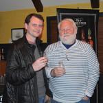 John Stack of Hartford Distributors, Inc., with Tim Adams, Co-Owner, J. Timothy's Taverne.