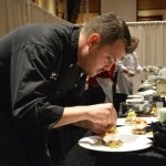 Winning chef Jeffrey Hoit working on a dish.