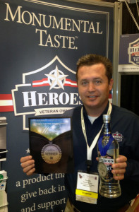 Founder of Heroes Vodka, Travis McVey, at the 2012 WSWA Annual Convention & Exposition. Heroes Vodka was awarded a Silver Medal by judges of annual The Tasting Panel Magazine competition.
