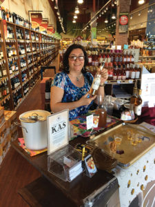 Marushka Osman, Co-founder, Kas Spirits during an in-store tasting event at Fairway Wine and Spirits in Stamford on April 27.