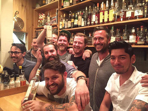Jaime Johel took first place (far right) next to Corey Bonderenko, second place and Conrad Meurice (center), third place. Craig Ventrice (front), Bar Manager, Kawa Ni, surrounded by competitors.