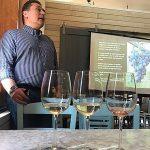 Wine pours next to Angelos Iatridis, Winemaker, Alpha Estate