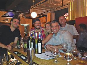 "Krust Bartender Neil Robinson; Krust Owner Kevin Wirtes; Madison Vestergaard; Curious Cork's Danny Keefe; and Cellar Fine Wines Sales Representative Rich Veilleux ""moments before their World Cup dreams were crushed."""