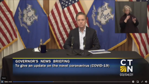Gov. Ned Lamont during a March 4. 2021 briefing.
