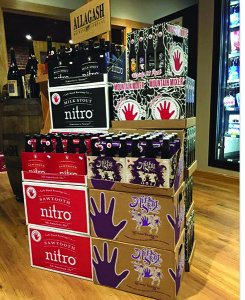 The Left Hand Brewing display, available from Craft Beer Guild Distributors, as shown at Nikki's Liquors in Providence.