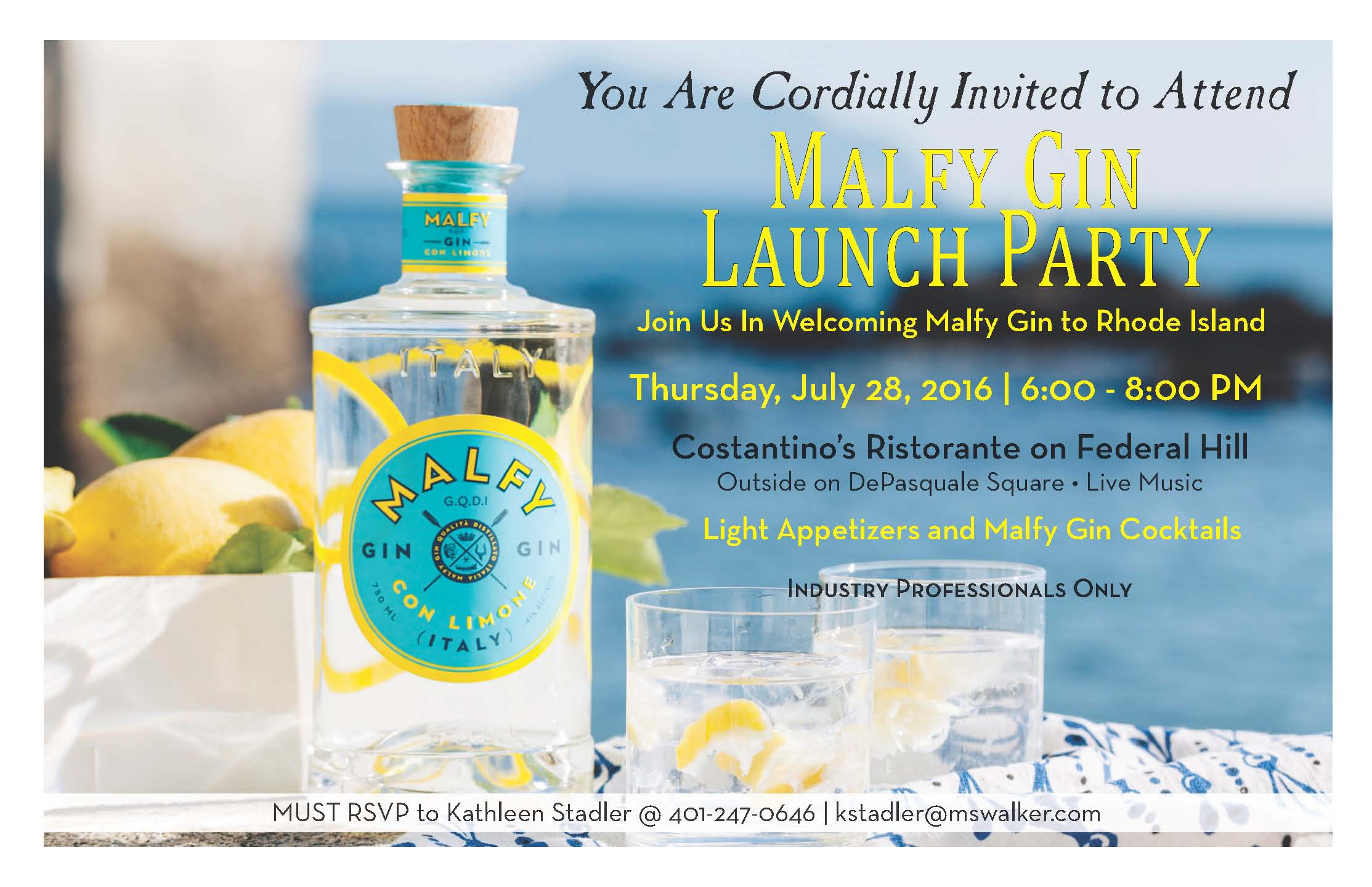 July 28, 2016: Trade Only/M.S. Walker and Malfy Gin Launch Party