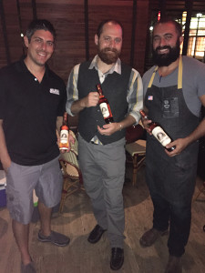 Top three bartenders from the August 22 competition at Max Fish: Justin Morales, Bear's Smoke House BBQ, second place; Anthony DeVito, Max Amore, first place; Aaron Stepka, Millwright's, third place.