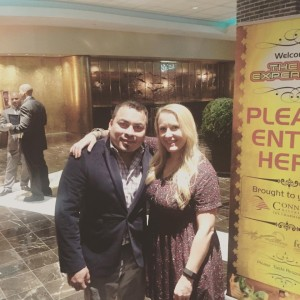 """Nadine Gengras, Account Development Specialist of Spirits, CDI with Andres Soriano, Bar Manager at Max Fish. Soriano won the cocktail competition with his drink """"Irish Goodbye."""" Trade professionals were able to sample cocktails mixed by local bartenders and vote on their favorite drink."""
