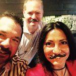 Ray Collins, Sales Representative, Brescome Barton; Gary Dritschler, State Manager, Campari America; Veronica Saurett, Account Development Manager, Brescome Barton, all wearing the Campari mustache.