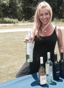Donna Taylor, Vine Ventures, with Noble Wines. Sav-Rite Liquors of North Haven sponsored the tasting placement.